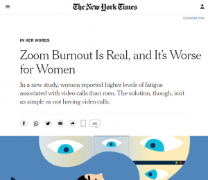 Zoom Burnout Is Real, and It's Worse for Women - The New York Times