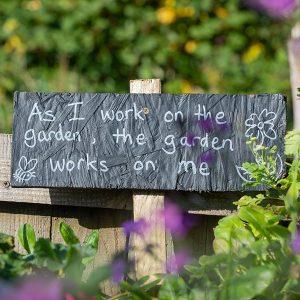 Garden sign promoting mental peace