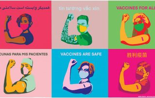 Digital poster created by Sandrine Demathieu featuring human rights activists, doctors, essential workers, religious leaders, and students of different ethnicities masked and flexing their arms with the words vaccines are safe translated in different languages